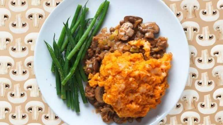 Mushroom and ale pie topped with sweet potato mash