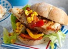 Jerk chicken burgers with chunky sweetcorn relis image
