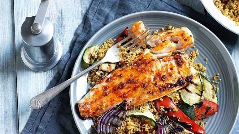 Harissa sea bass with griddled vegetables & couscous image