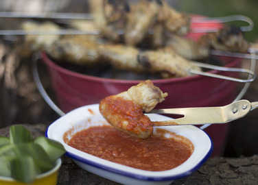 Crispy campfire chicken with tomato sauc image