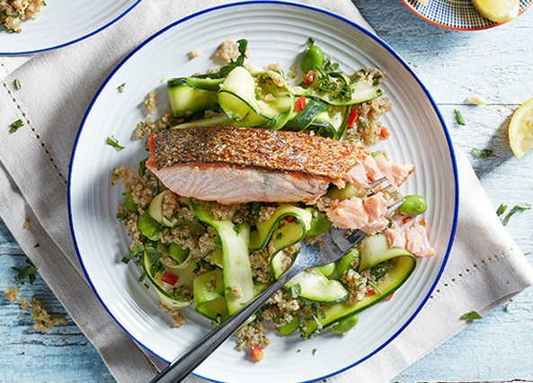 Crisp-skinned salmon with vegetable quino image