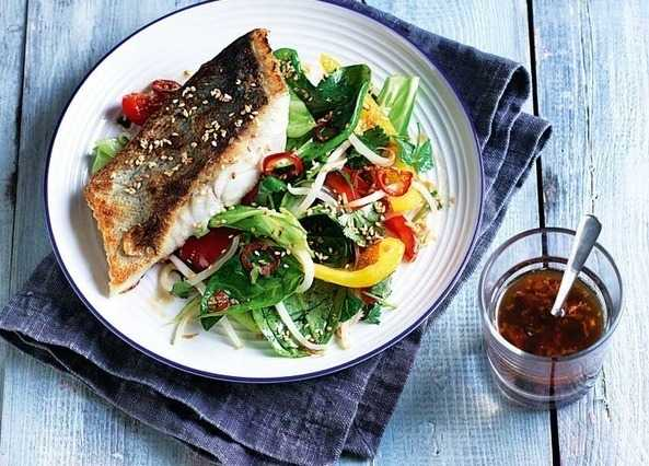Crisp-skinned coley fillets & sesame stir-fry sala image