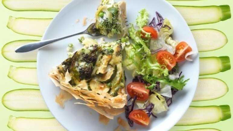 Courgette, pea and broccoli filo tart