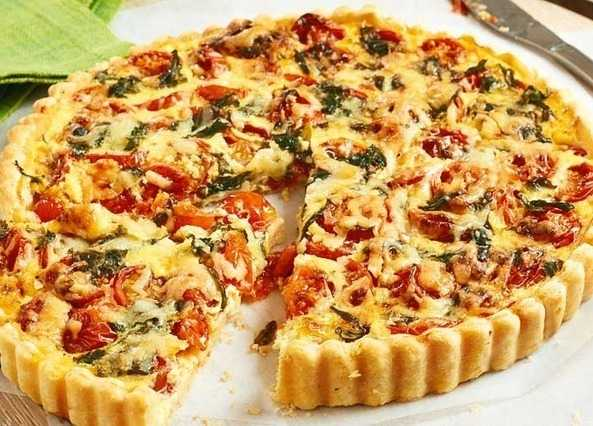 Home / Recipes / Courses / Main courses / Cherry tomato & basil quiche