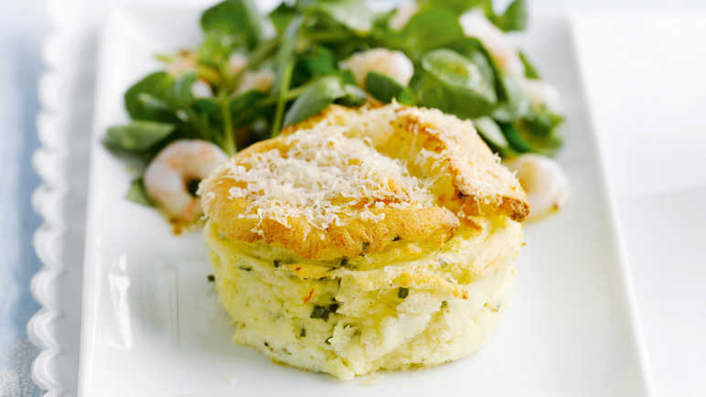 Cheese soufflés with prawn salad image