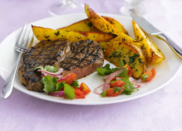 Chargrilled steak with paprika wedge image