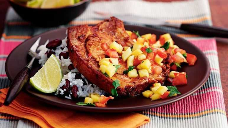 Caribbean pork chops with mango sals image
