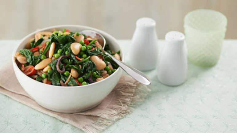 Butterbeans with spinach, chilli and garli image