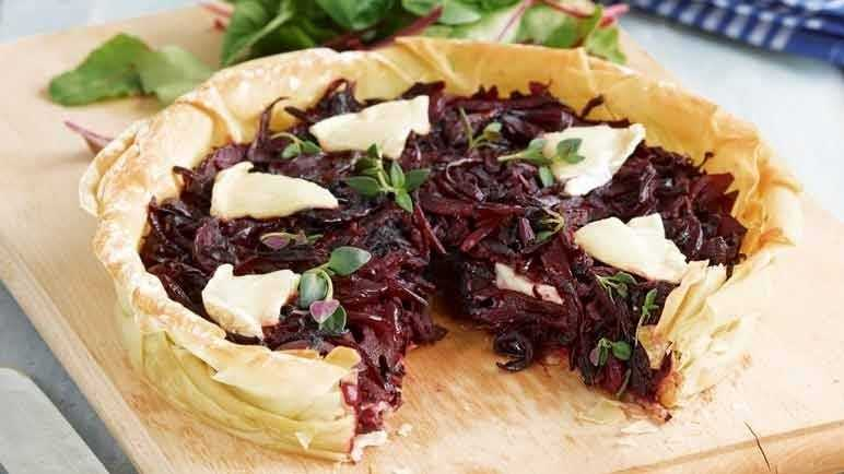 Beetroot, red onion and goats' cheese tart