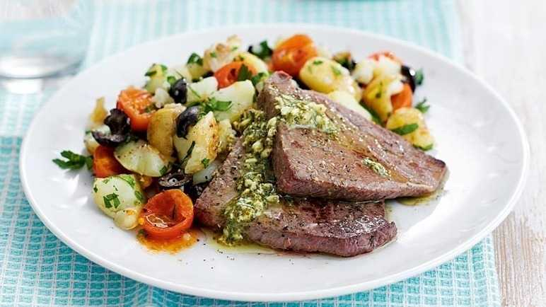 Beef escalopes with tomato & olive potatoes