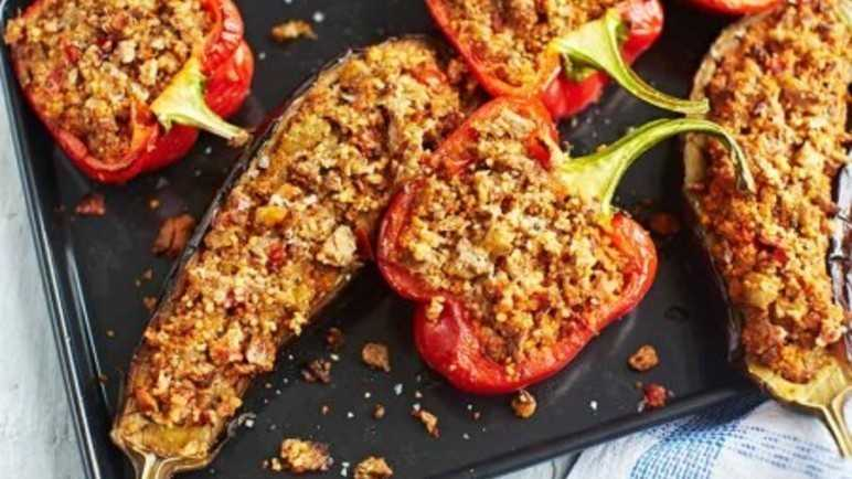 Aubergines and peppers stuffed with lamb and couscou image