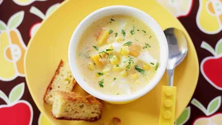 Sweetcorn and fish chowder with cornbrea image