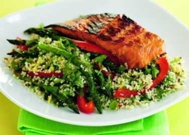 Soy and honey salmon with couscous sala image