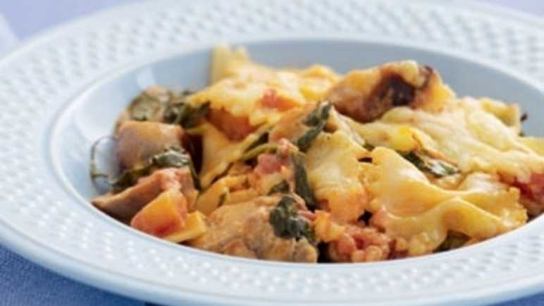Sausage and bow tie pasta bak image