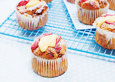 Rhubarb and custard muffin image