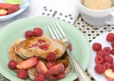 Raspberry and peach pancake image