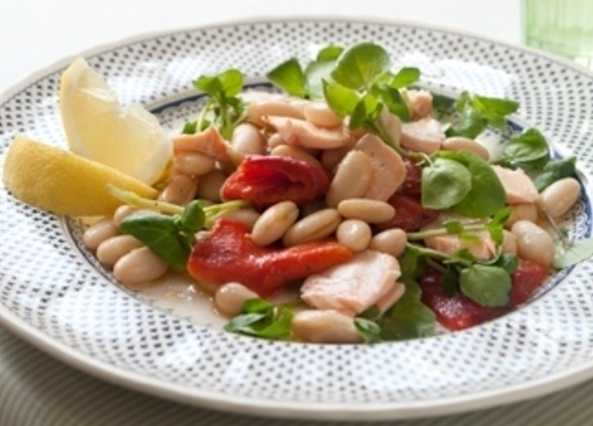 Quick and easy warm salmon and cannellini bean salad