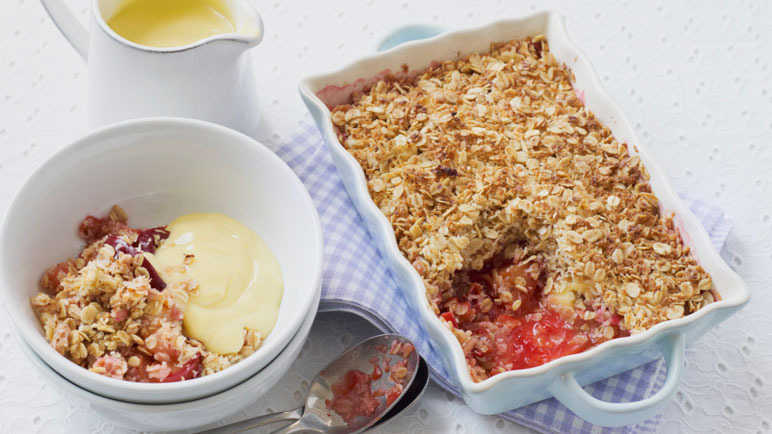 Plum, oat and coconut crumbl image