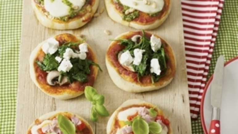 Mini pizzas with various toppings