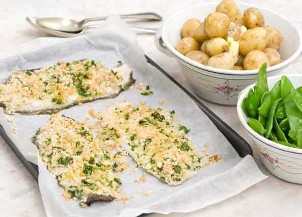 Lemon sole with a herby crus image