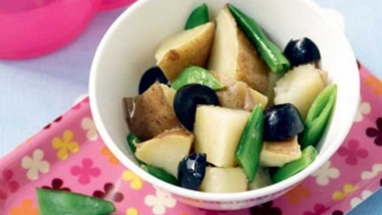 Jersey royals, olives and sugar snap pea image