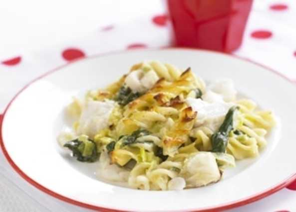 Haddock and spinach pasta bak image