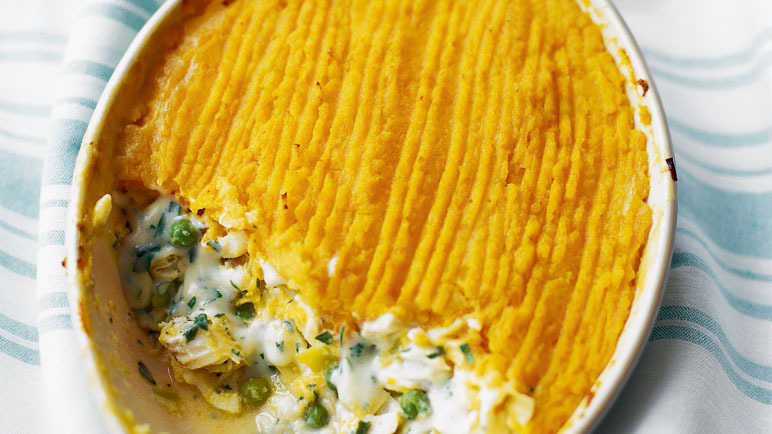 Fish and leek pie with swede mash and peas