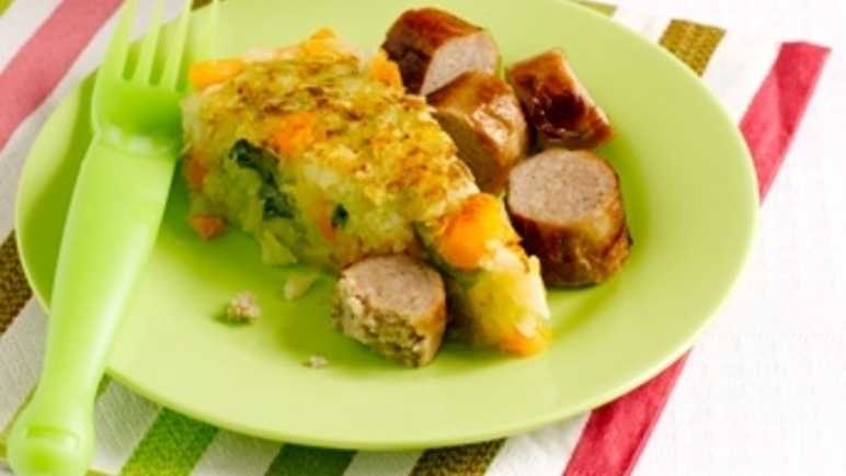 Bubble and squeak with sausage image