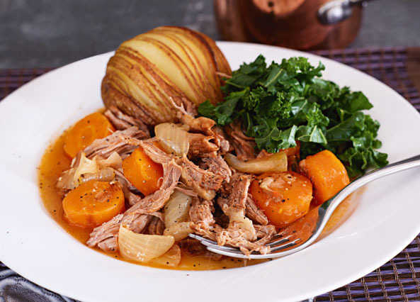 Image: Braised lamb with hasselback potatoes