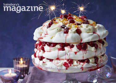Cranberry orange meringue cake