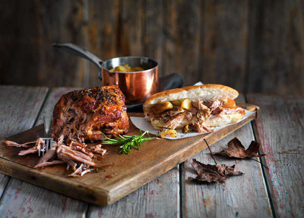 Image: Pulled pork rolls with warm toffee apple sauce