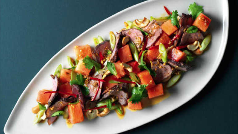 Image: Roasted duck and watermelon salad with toasted cashew nuts