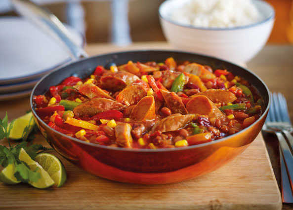 Image: Mexican sausage and bean chilli with rice