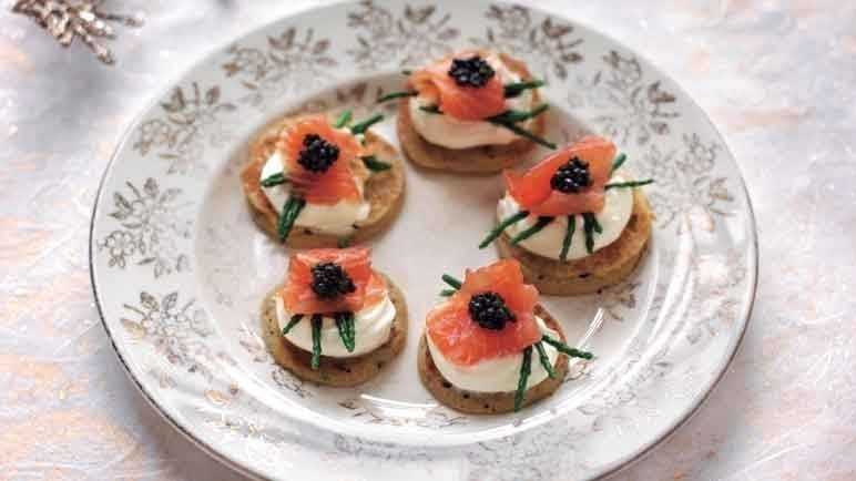 Image: Dill and mustard blinis with smoked salmon