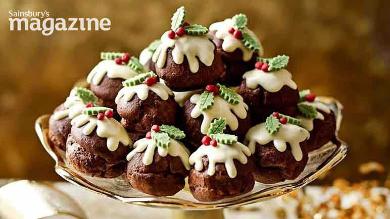 Image: Chocolate profiterole Christmas puddings