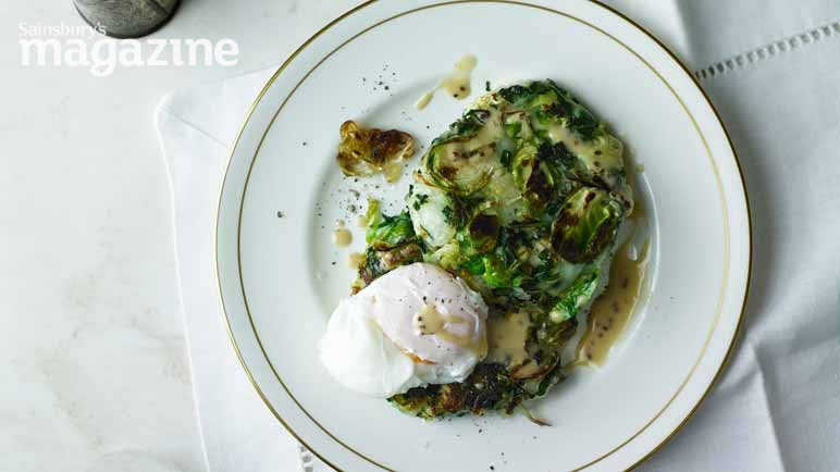 Image: Bubble and squeak cakes with poached eggs and mustard sauce