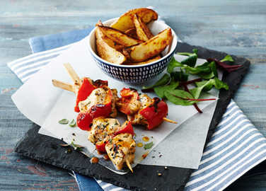 Image: Chicken Peri Peri skewers with potato wedges