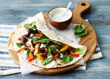 Image: Middle Eastern meatball wraps