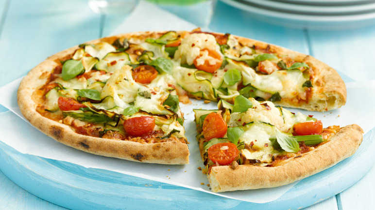 Spring vegetable pizza image