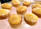 Image: Gluten Free Friands with toppings of stem ginger or crystallised lemon or berries.