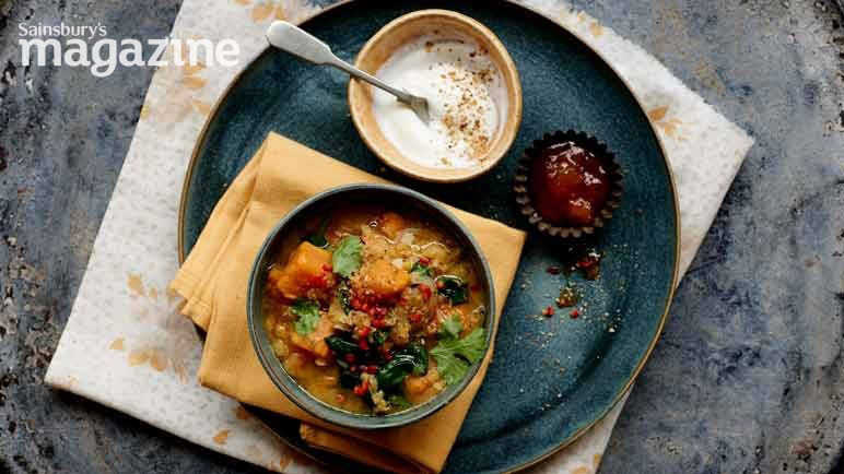 Image: Dukka sweet potato and spinach dal