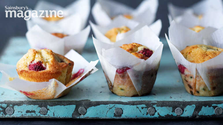 Raspberry and passionfruit muffins