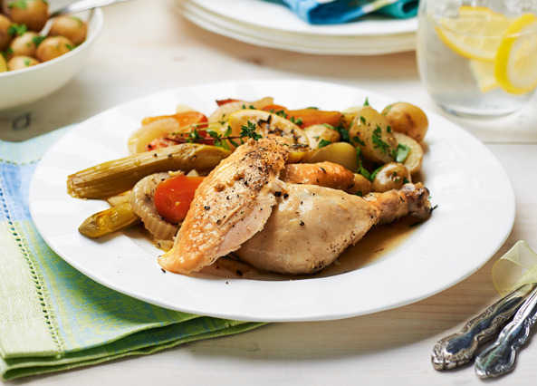 Image: Slow cook chicken with herby new potatoes