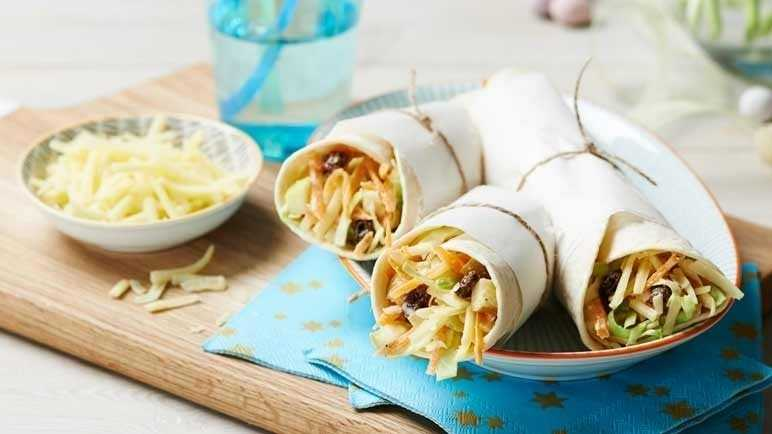 Image: Cheddar and fruited coleslaw wraps
