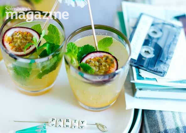 Image: Passion fruit, mint and lime rum cocktails