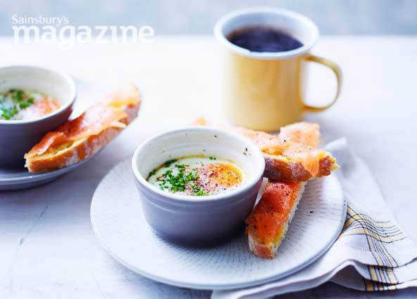 Image: Creamy baked eggs with smoked salmon soldiers
