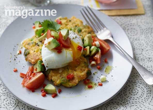 Image: Sweetcorn and halloumi fritters with avocado salsa and poached eggs