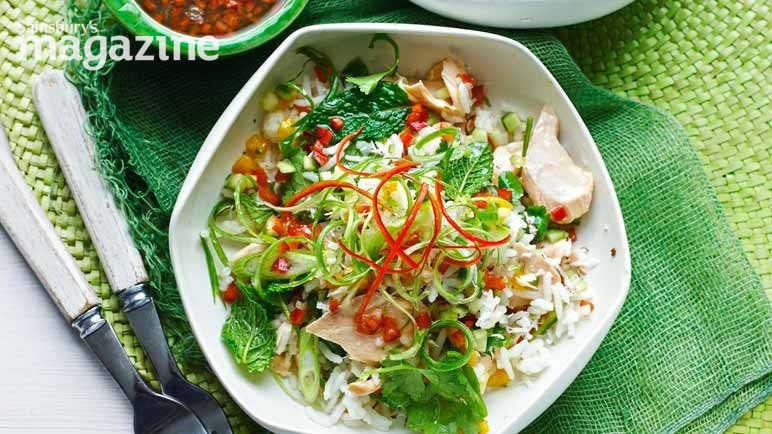 Image: Grilled salmon Thai rice salad