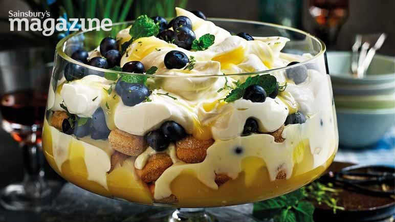 Image: Blueberry, lemon and mint trifle