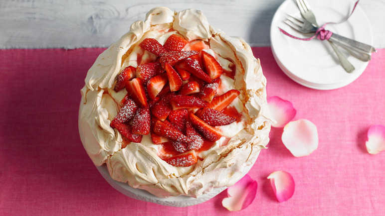 Image: Strawberry and rosewater pavlova